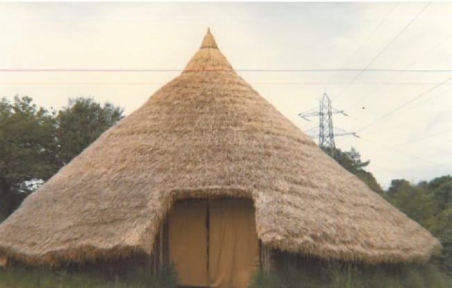 Chiltern Open Air Museum's Iron Age Roundhouse in 1981